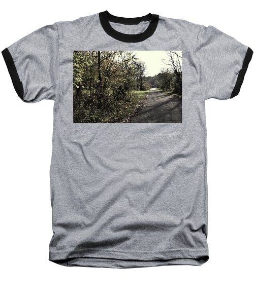 Road To Covered Bridge Baseball T-Shirt by Joanne Coyle