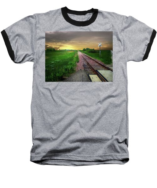 Road Track Crossing Baseball T-Shirt