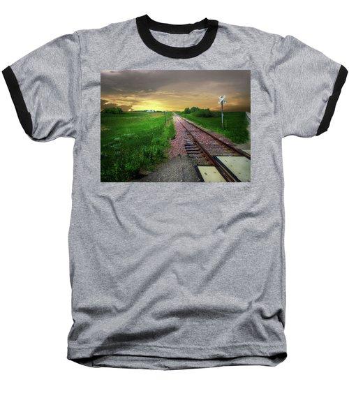 Road Track Crossing Baseball T-Shirt