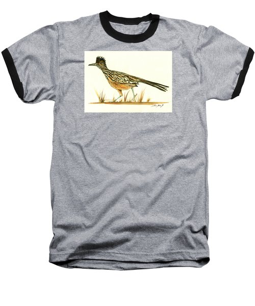 Roadrunner Bird Baseball T-Shirt by Juan Bosco
