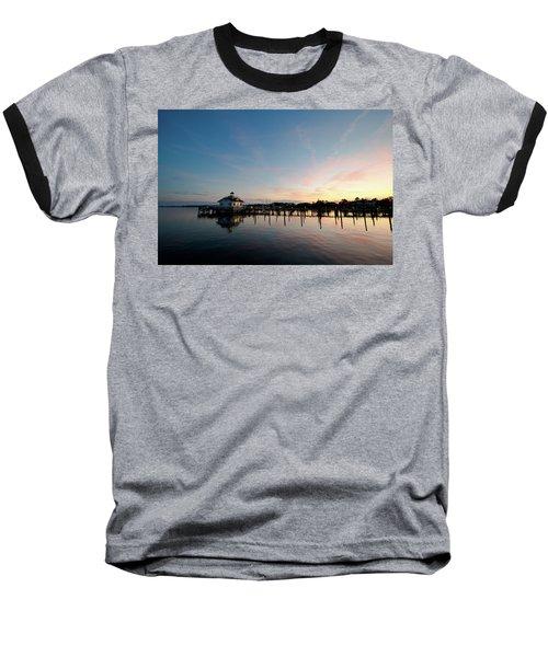 Roanoke Marshes Lighthouse At Dusk Baseball T-Shirt by David Sutton