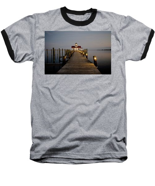 Roanoke Marshes Lighthouse Baseball T-Shirt by David Sutton