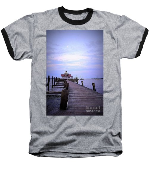 Full Moon Over Roanoke Marshes Lighthouse Baseball T-Shirt by Shelia Kempf