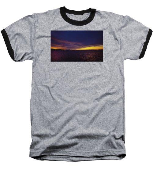 Roatan Sunset Baseball T-Shirt by Stephen Anderson