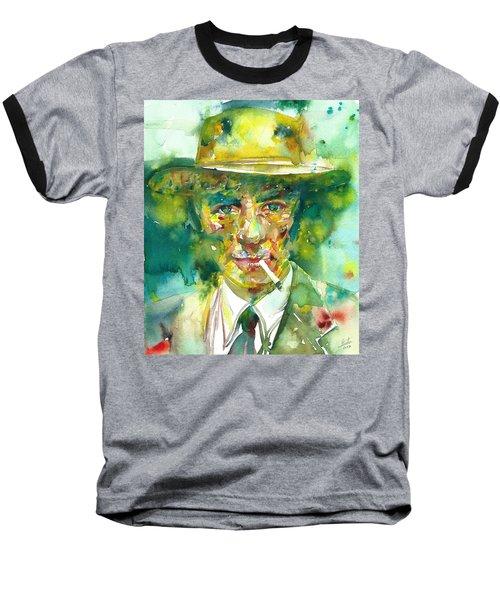 Baseball T-Shirt featuring the painting Robert Oppenheimer - Watercolor Portrait.2 by Fabrizio Cassetta