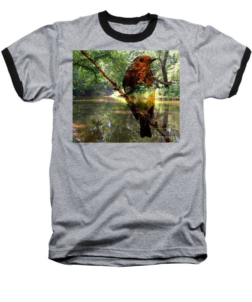 Robin By The River Baseball T-Shirt by Annie Zeno