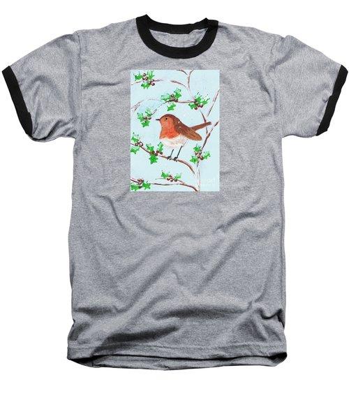 Robin In A Holly Bush Baseball T-Shirt
