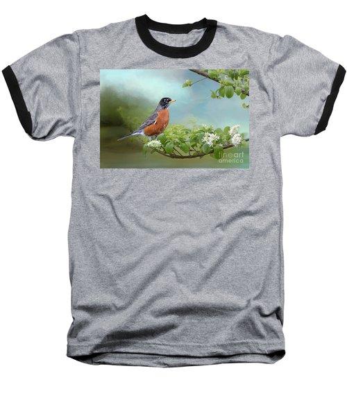 Robin In Chinese Fringe Tree Baseball T-Shirt