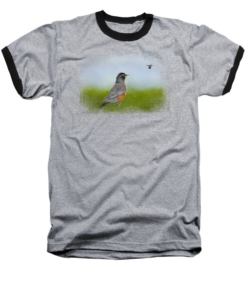 Robin In The Field Baseball T-Shirt