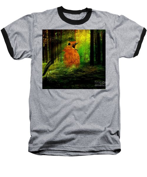 Robin In The Forest Baseball T-Shirt by Annie Zeno