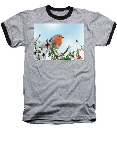 Robin In The Snow Baseball T-Shirt