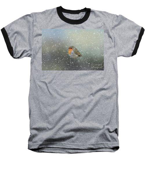 Robin In Winter Baseball T-Shirt