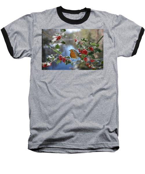 Robin On Holly Branch Baseball T-Shirt