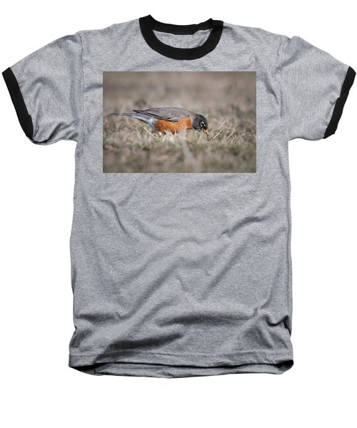 Baseball T-Shirt featuring the photograph Robin Pulling Worm by Tyson Smith