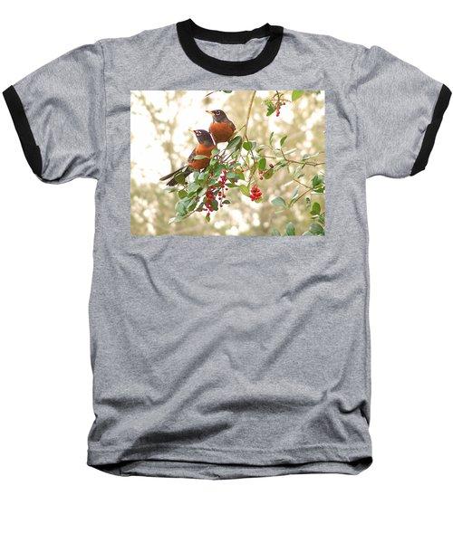 Robins In Holly Baseball T-Shirt