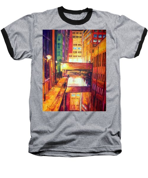 Rochdale Canal With Lock At Night Baseball T-Shirt