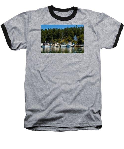 Roche Harbor Marina Baseball T-Shirt by Chuck Flewelling