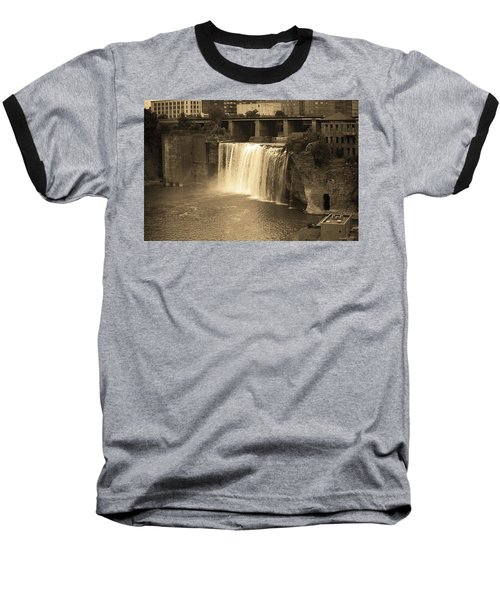 Baseball T-Shirt featuring the photograph Rochester, New York - High Falls Sepia by Frank Romeo