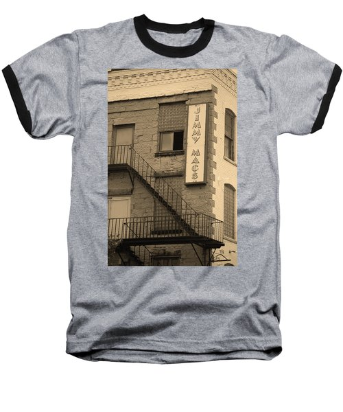 Baseball T-Shirt featuring the photograph Rochester, New York - Jimmy Mac's Bar 2 Sepia by Frank Romeo