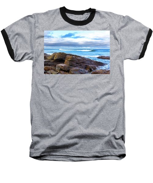 Baseball T-Shirt featuring the photograph Rock And Wave by Perry Webster