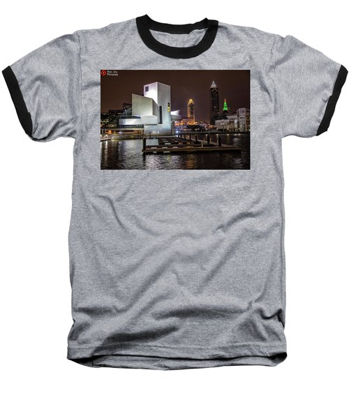 Rock Hall Of Fame And Cleveland Skyline Baseball T-Shirt by Peter Ciro