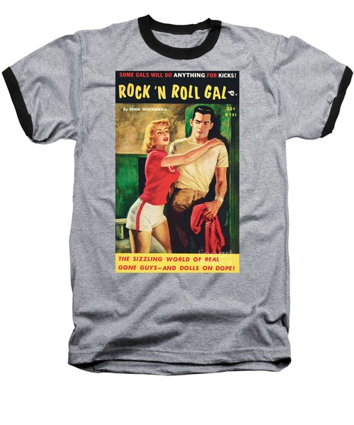 Baseball T-Shirt featuring the painting Rock 'n Roll Gal by Owen Kampen