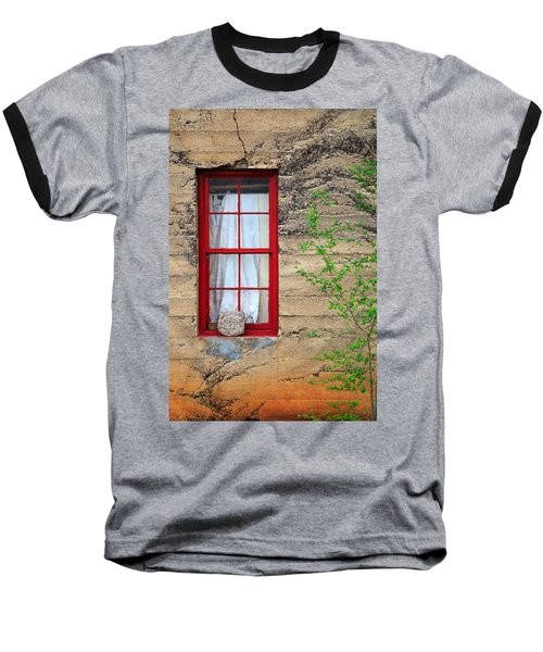 Baseball T-Shirt featuring the photograph Rock On A Red Window by James Eddy