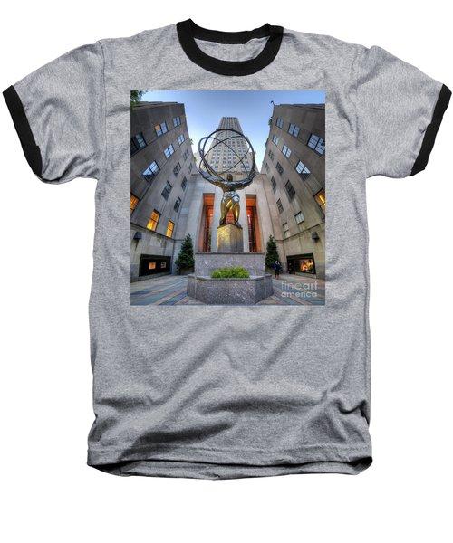 Rockefeller Centre Atlas - Nyc - Vertorama Baseball T-Shirt