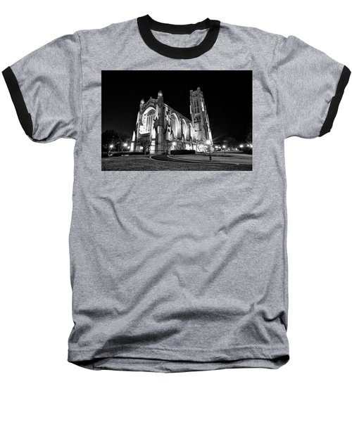 Rockefeller Chapel - B And W Baseball T-Shirt by CJ Schmit