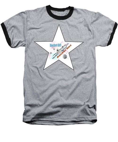 Rocket Girl With Star Baseball T-Shirt by Tom Conway