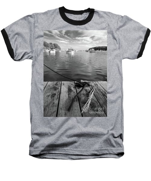 Rockport Harbor, Maine #80458-bw Baseball T-Shirt