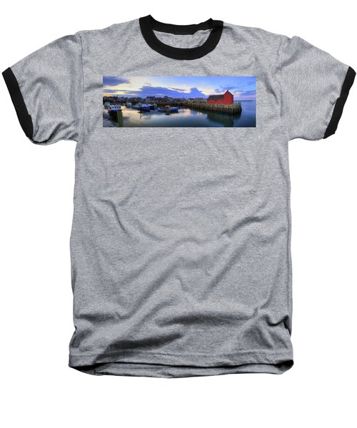 Baseball T-Shirt featuring the photograph Rockport Harbor Sunset Panoramic With Motif No1 by Joann Vitali