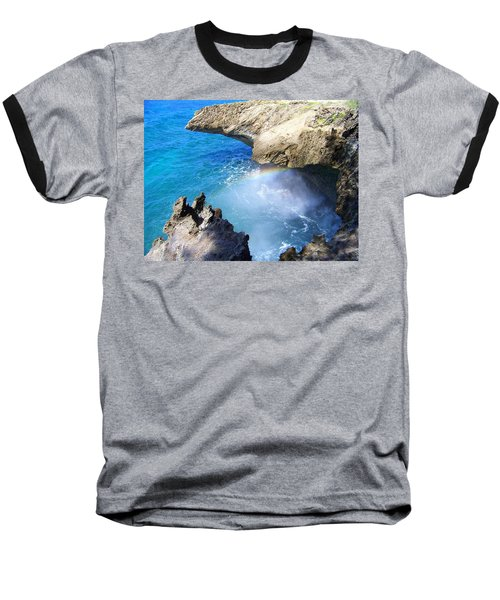 Rocks And Rainbow Baseball T-Shirt by Susan Lafleur