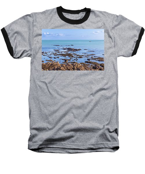 Rocks And Seaweed And Seagulls In The Irish Sea At Howth Baseball T-Shirt by Semmick Photo