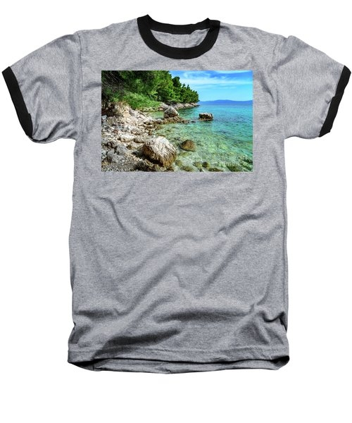 Rocky Beach On The Dalmatian Coast, Dalmatia, Croatia Baseball T-Shirt