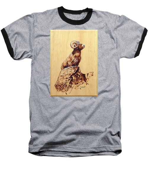 Baseball T-Shirt featuring the pyrography Rocky Mountain Bighorn Sheep by Ron Haist