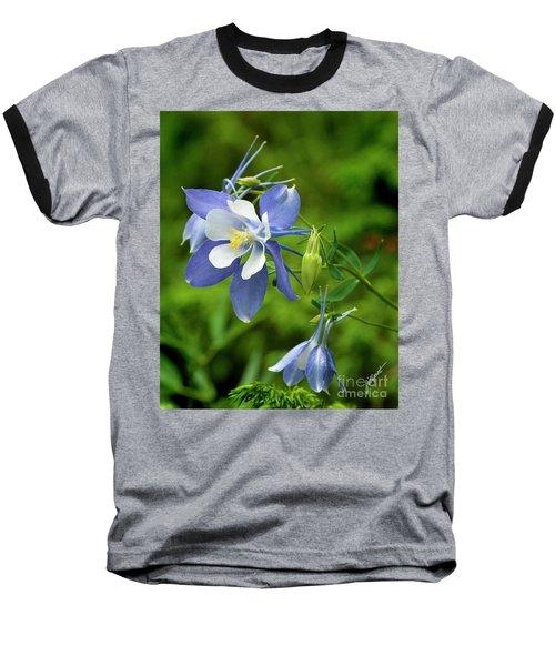 Rocky Mountain Blue Columbine Baseball T-Shirt