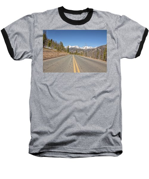 Baseball T-Shirt featuring the photograph Rocky Mountain Road Heading Towards Estes Park, Co by Peter Ciro