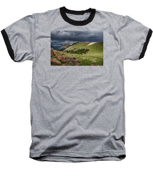 Rocky Mountain Strorm Baseball T-Shirt by Mary Angelini