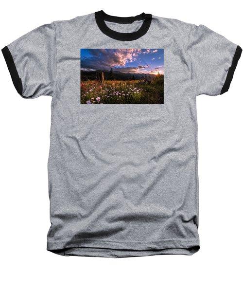 Rocky Mountain Summer Sunset Baseball T-Shirt by Michael J Bauer