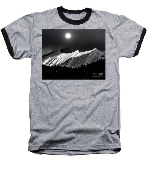 Rocky Mountains In Moonlight Baseball T-Shirt by Elaine Hunter