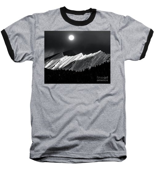 Rocky Mountains In Moonlight Baseball T-Shirt