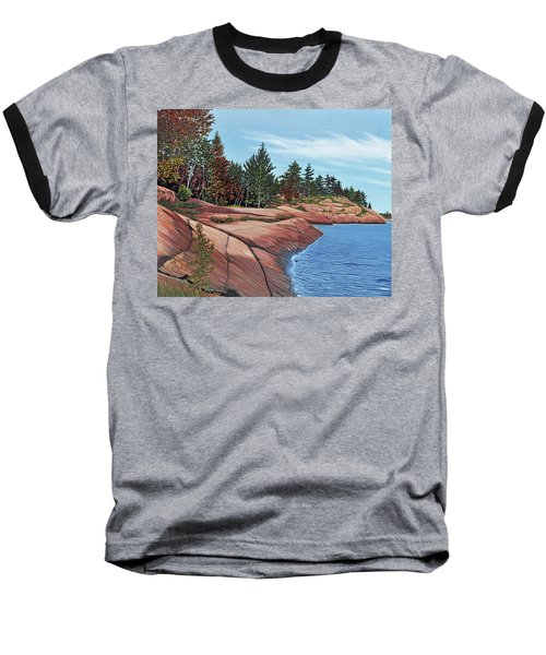 Baseball T-Shirt featuring the painting Rocky River Shore by Kenneth M Kirsch