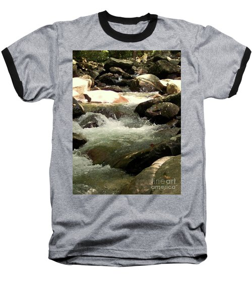 Baseball T-Shirt featuring the mixed media Rocky Stream 4 by Desiree Paquette