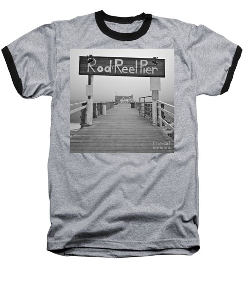 Rod And Reel Pier In Fog In Infrared 53 Baseball T-Shirt
