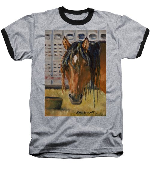 Rodeo Horse Baseball T-Shirt by Lori Brackett