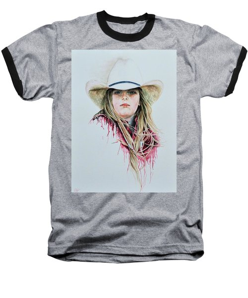 Rodeo Red Baseball T-Shirt by Traci Goebel