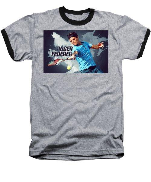 Roger Federer Baseball T-Shirt by Semih Yurdabak