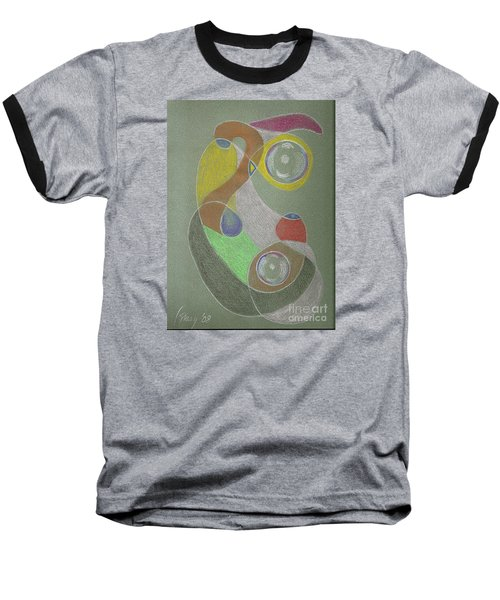 Baseball T-Shirt featuring the drawing Roley Poley Vertical by Rod Ismay