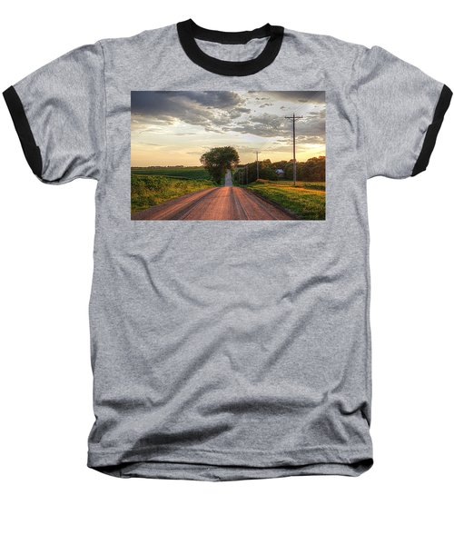 Rolling Down A Country Road Baseball T-Shirt by Karen McKenzie McAdoo